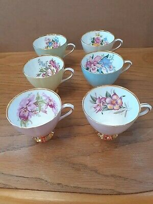 £30 • Buy 6x  Clare Bone China Harlequin Floral Tea Cups