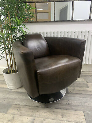 £450 • Buy Timothy Oulton Halo Designer Vintage Aniline Brown Leather Rocket Swivel Chair