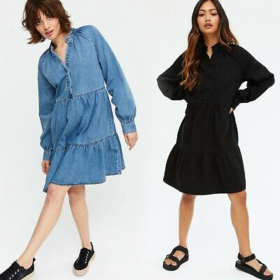 £16.95 • Buy Ex New Look Denim Tiered Button Up Smock Dress Blue Black Size 6 - 20