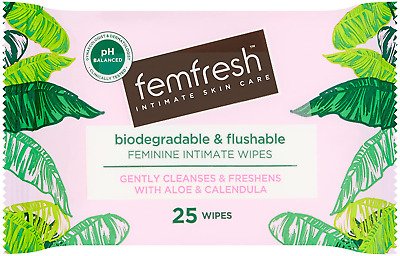 £3.42 • Buy Femfresh Daily Wipes Biodegradable & Flushable, Pack Of 25 Wipes