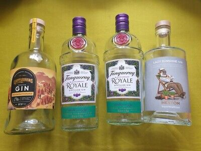 £1 • Buy 4 X Empty Gin Bottles - Heston, 2 X Tanqueray, Kopparberg (all 70cl Size)