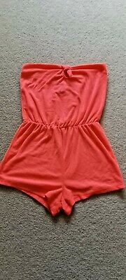 £5 • Buy Matalan Bandeau Coral Pink Towelling Playsuit Size Small 8-10 BNWT Cost £10