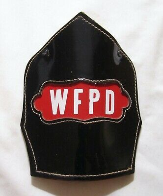 £7.27 • Buy Vintage Wfpd Cairns Leather Fire Helmet Front Piece Shield Protection District
