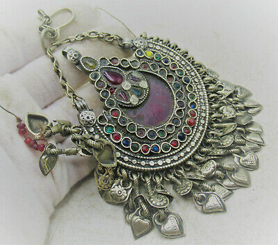 £0.99 • Buy Lovely Post Medieval Islamic Ottomans Silvered Pendant With Stones