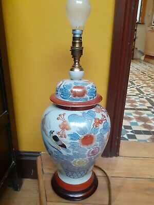 £40 • Buy Vintage Chinese Rochamp Table Lamp,bird Pattern Wood Base.48cms Height,64cms,20c