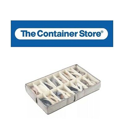 £7.26 • Buy The Container Store 16 Compartment Underbed Shoe Organizer Beige Brown