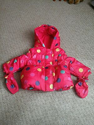 £5 • Buy George NWOT Red Hooded Quilted Waterproof Coat Size 9-12 Mths.