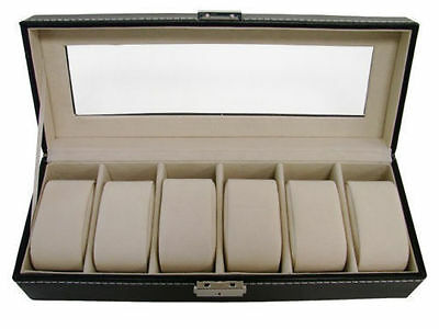 £8.49 • Buy New 6 Grids Leather Watch Display Case Jewelry Collection Storage Holder Box UK