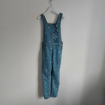 £3.25 • Buy M&S Girls Blue Denim Bee Embroidered Dungarees 5-6 Years