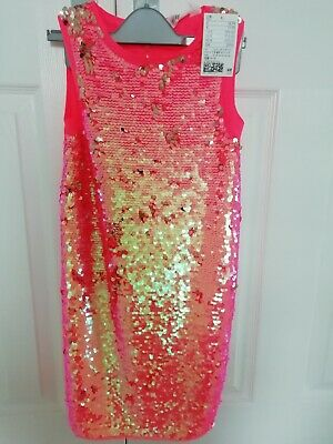 £9.99 • Buy Girls Sparkly Coral Party Dress Age 7-8 Yrs Bnwt