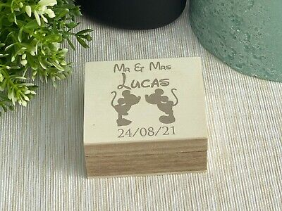 £14.99 • Buy Mickey & Minnie Disney Double Ring Bearer Box Wedding Day Personalised Gift