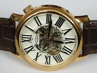 £19.99 • Buy Mens Rotary Automatic Skeleton Rose Gold Watch GS00136/21
