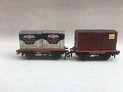 £12.99 • Buy Rake Of 2 X Trix TTR OO Gauge Conflat Wagons With Container Loads