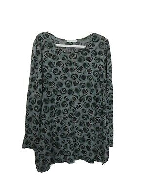 £21.98 • Buy Cut Loose Womens XL Floral Tunic Top Gray Long Sleeve Rose Buds Burnout