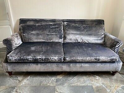 £1500 • Buy Second Hand Silver Grey Velour Multiyork Sofa. Very Serious Solid Piece