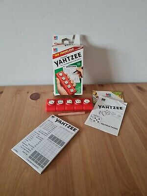 £8.99 • Buy Travel Yahtzee Vintage 1992 Red Plastic Case MB Lots Of Score Pad Sheets Classic