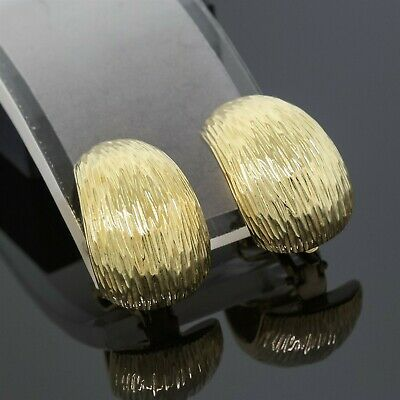 £1545.79 • Buy Tiffany & Co. 18K Yellow Gold Textured Clip On Huggie Earrings