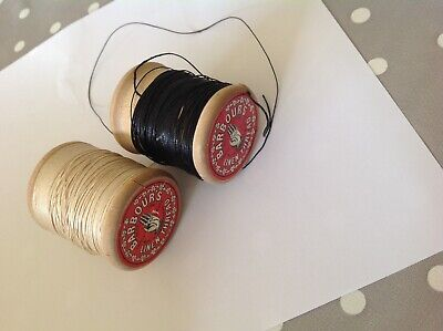 £12.50 • Buy BARBOUR Vintage Linen Thread X 2 Sewing Haberdashery Wooden Cotton Reels/Threads