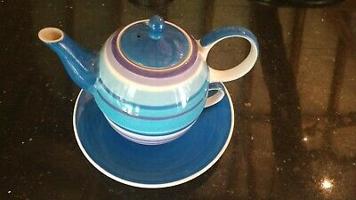 £5 • Buy Whittard Of Chelsea Tea For One Cup Saucer Teapot Blue Purple Gift Set