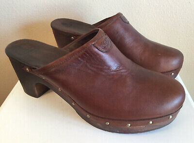 £14.62 • Buy Women's Ugg Clogs Mules Brown Leather Studded Sheepskin Lining Size 8