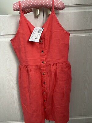 £6 • Buy Girls New Linen Dress Coral Age 10