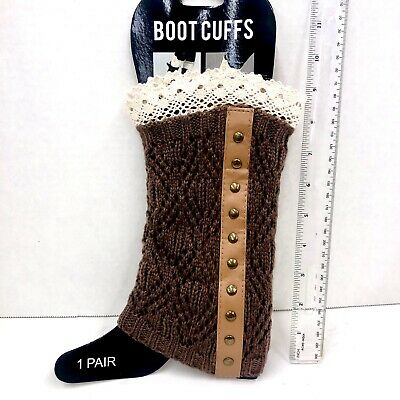 £9.64 • Buy Steampunk Brown Boot Socks Cuffs Knee High Knitted Lace Trim Long Leg Warmers