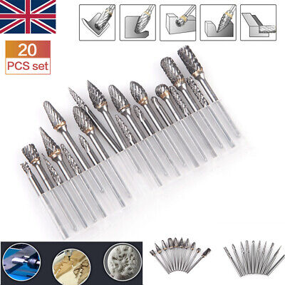 £13.99 • Buy 20Pcs Tungsten Steel Solid Carbide Burrs For Dremel Rotary Bit Accessories Tool