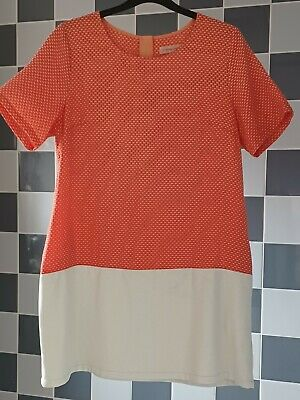 £8 • Buy Traffic People Embossed Coral & White Faux Leather Panel Shift Dress XL