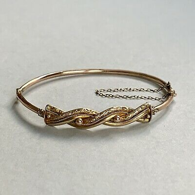 £280 • Buy Antique Victorian 9ct Gold Hinged Bangle 5.34g With Antique Box