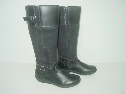 £12 • Buy CLARKS BLACK FAUX/REAL LEATHER KNEE LENGTH BOOTS Size Uk 5 / Eu 38