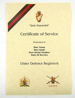 £9.99 • Buy UDR Ulster Defence Regiment Personalised Luxury Certificate Of Military Service.