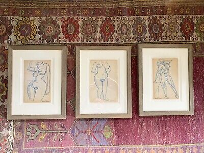 £449.99 • Buy Raymond Trameau Pen Ink Cubist Abstract Nudes Fauvist 1940s Picasso X 3 Framed