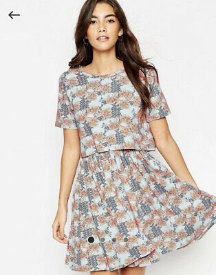 AU20 • Buy ASOS - T-Shirt Dress With Overlay In Floral Print - Size 12 - Pre-owned