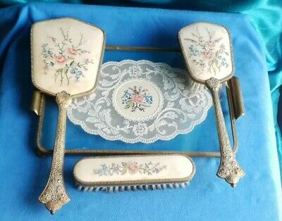 £9.99 • Buy Vintage Petit Point Embroidered Brass Dressing Table Set Tray, Mirror, Brushes