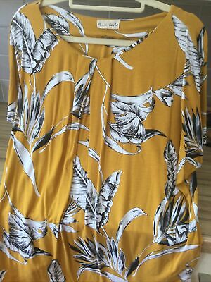 £4 • Buy Fabulous PHASE EIGHT Mustard Black Floral Outline Print Drop Sleeve Top Sz 14