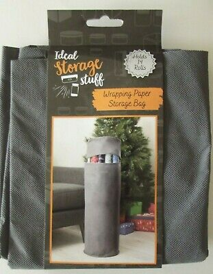£8.25 • Buy Christmas Xmas Wrapping Paper Storage Bag Holds Up To 14 Rolls Grey