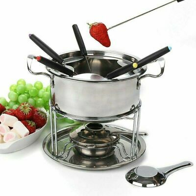 £14.89 • Buy Chocolate Cheese Fondue Set Stainless Steel Melting Pot Forks Fuel Burner