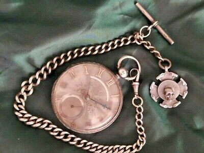 £395 • Buy Rare 'Cavorting Monks'  Silver Pocket Watch With Albert Chain & Memento Mori Fob