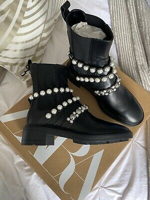 £25.99 • Buy RRP £90 Zara Ankle Boots Leather Platform Boots With Faux Pearl Straps UK 5