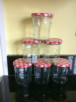 £9.99 • Buy 6 BONNE MAMAN JARS With Red Gingham Lids - CHARITY FUNDRAISER Pre Owned Freepost
