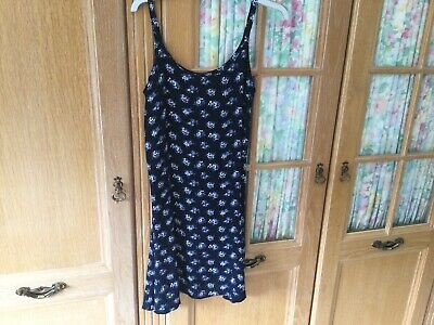 """£7.99 • Buy Vintage Girls """"I'd:x"""" Dress Age 10+ /Teen Navy Floral In Viscose VG Condition"""
