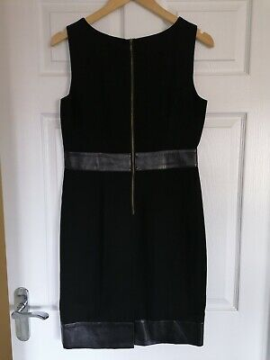 £8 • Buy Black M&S Limited Collection Shift Dress Faux Leather Party Occasion 10 12