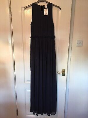 £5 • Buy Gorgeous Navy Blue Floor Length H&M Evening Dress Size 12 New With Tags