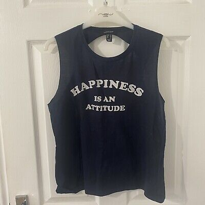 £0.99 • Buy Primark Slogan 'Happiness Is An Attitude' Backless Vest Size 12