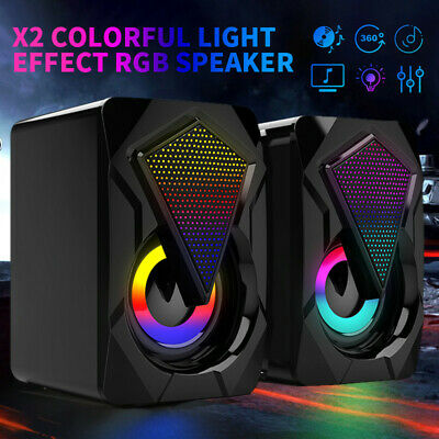 £10.99 • Buy 2Pcs Surround Sound System LED PC Speakers Gaming Bass USB Wired For Computer UK