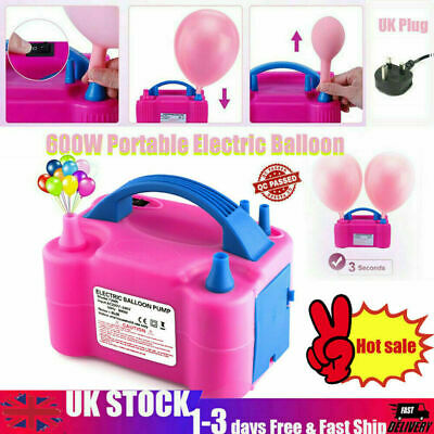 £14.85 • Buy 600W Electric Air Balloon Pump Dual Nozzle Automatic Portable Inflator Party Uk