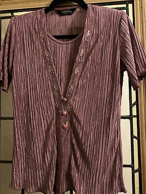 £5.99 • Buy Size M 12 - 14 Forever By Michael Gold Purple Mauve Slinky Mock Two Piece Top