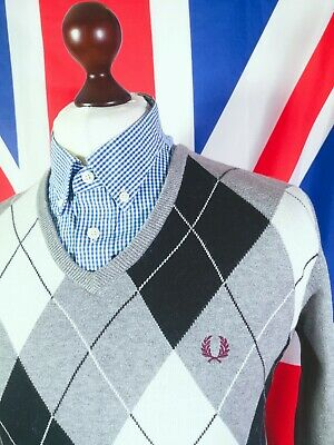 £10.50 • Buy Fred Perry Knitted Argyle V-neck Jumper - M/L Grey - Mod Casuals 60's