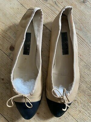 £14 • Buy Macy's Tan With Black Toes Leather Vintage Ballet Pumps Slippers Size 10 UK 7.5