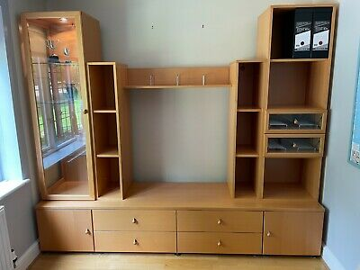 £1 • Buy High Quality Beech Wood Living Room Furniture Set With TV Unit And Glass Cabinet